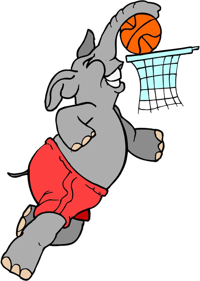 A Elephant Basketball Player. He is doing a Slam Dunk. Submitted  by SanMiguel67.