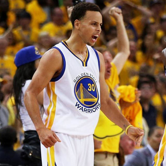 Stephen Curry #30 of the Golden State Warriors react in overtime against the Cleveland Cavaliers during Game One of the 2015 NBA Finals at ORACLE Arena on June 4, 2015 in Oakland, California.
