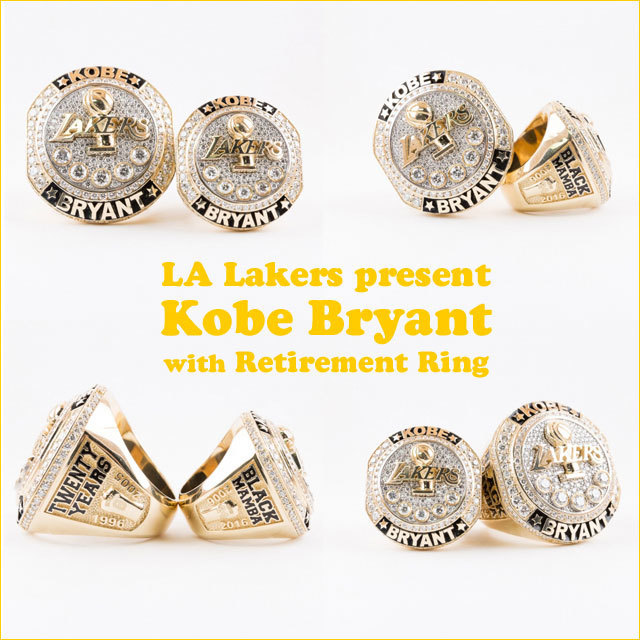 Before the final game of his career, the Lakers organization presented Kobe and Vanessa Bryant with commemorative retirement rings celebrating the Mamba's illustrious career.