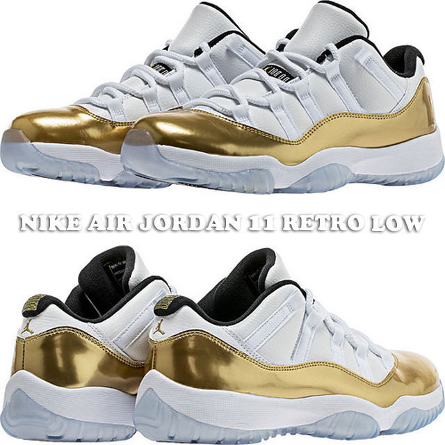 NIKE AIR JORDAN 11 RETRO LOW WHITE/METALLIC GOLD 528895-103