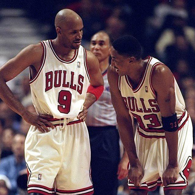 NBA Chicago Bulls #9 Ron Harper with #33 Scottie Pippen