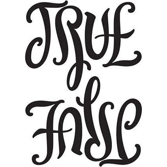This ambigram, created by John Langdon, features two words with opposite meanings that can be seen individually by rotating the image 180 degrees. Shown at this angle, the word TRUE can be seen and a very fancy font. When inverted, the image appears as follows and it turns into the word FALSE.
