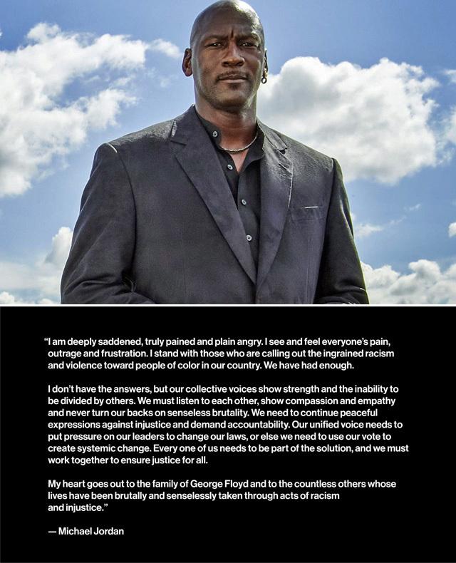 マイケル・ジョーダンがジョージ・フロイド氏の死亡事件に対する声明を発表